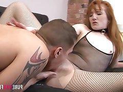British Cunnilingus Redhead Skinny Small Tits