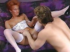 Hairy Lingerie MILF Redhead Stockings